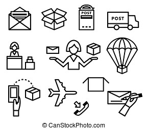 Post vector icons. Shipping and delivery set - Post vector...