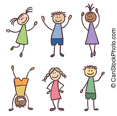 Children hand drawn vector set - Children friendship...