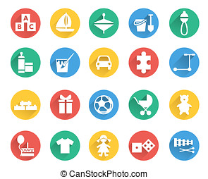 Toys and children icons vector set. Child store sections
