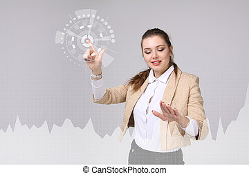 Young woman working with graph chart. Future technologies for busines, stock market concept