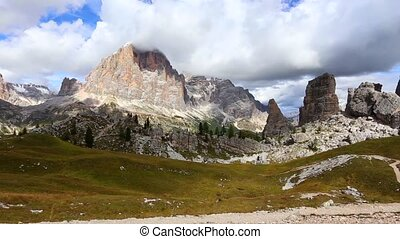 Cinque Torri panorama view at the Dolomiti Italy