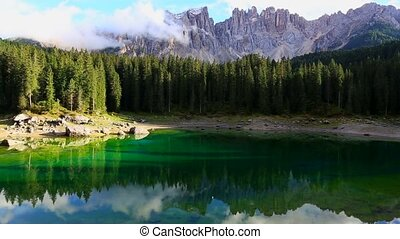 Lago di Carezza - view of Lago di Carezza Dolomites Italy