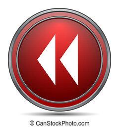 Rewind icon. Internet button on white background.
