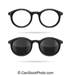 Hipster Glasses Set Transparent and Sunglasses Model Icons...