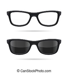 Hipster Glasses Set. Transparent and Sunglasses Model Icons....