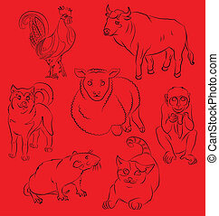 rooster, dog, pig, rat, monkey, tiger and ox - Seven Chinese...
