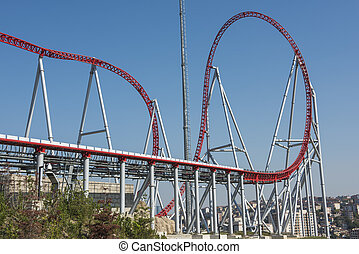 Roller coaster ride at a theme park