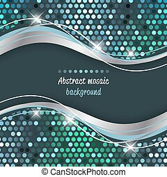Abstract mosaic vector background with wave.