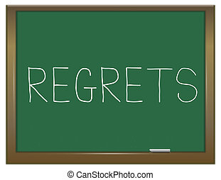 Regrets word concept. - Illustration depicting a green...