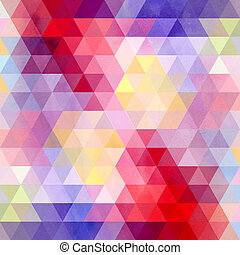 Watercolor geometric background with triangles - Watercolor...