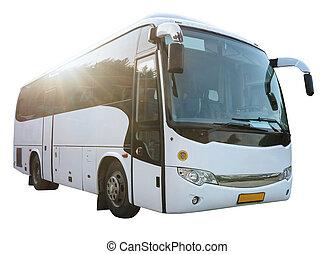 Modern White Bus Isolated on White - Modern White Passenger...