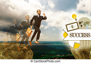 Image of young businessman jumping over gap concept of...