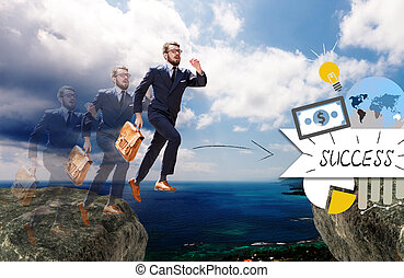Image of young businessman jumping over gap. concept of...