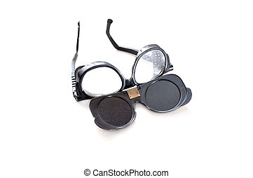 Welding glasses isolated on white background