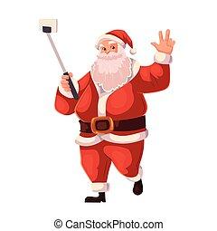 Full length portrait of Santa making selfie - Santa Claus...