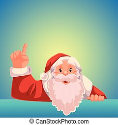 Santa Claus pointing up on a blue background