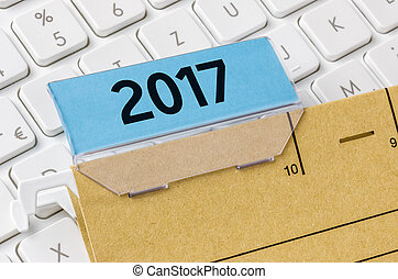 A brown file folder labeled with 2017
