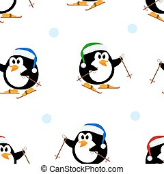 Seamless vector texture with penguins on skis. Vector...
