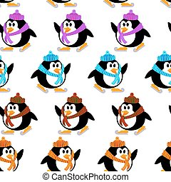 Seamless vector texture with penguins on skis. Vector pattern with cute little penguins