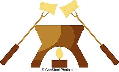 Vector illustration Cartoon fondue. Fondue snack symbol on a...
