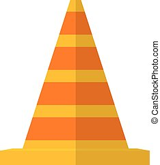 Vector illustration of the striped traffic cone. Flat style traffic cone on a white background.