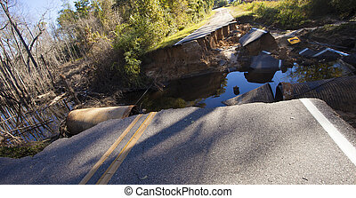 Damage from flooding near Fayetteville - Road washed away...