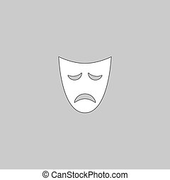 tragedy mask computer symbol - tragedy mask Simple line...