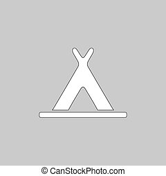 Wigwam computer symbol - Wigwam Simple line vector button....
