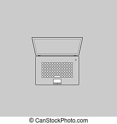 netbook computer symbol - netbook Simple line vector button...