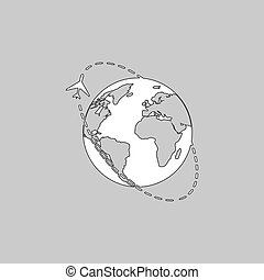 Air travel computer symbol - Air travel Simple line vector...