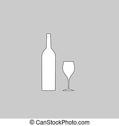 Bottle and glass computer symbol - Bottle and glass Simple...