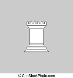 Chess Rook computer symbol - Chess Rook Simple line vector...