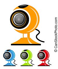 Webcam - Vector illustration of different colored webcam...