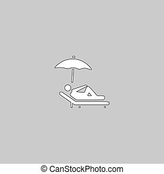 lounger computer symbol - lounger Simple line vector button....