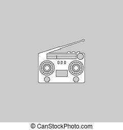 boombox computer symbol - boombox Simple line vector button....