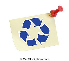 note with recycle symbol on it