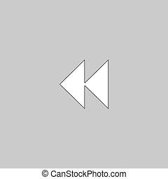 rewind computer symbol - rewind Simple line vector button...