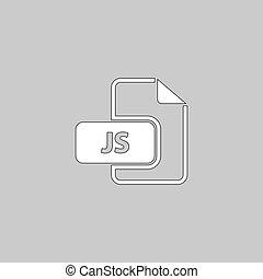 JS computer symbol - JS Simple line vector button. Thin line...