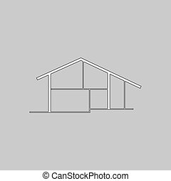 cottage computer symbol - cottage Simple line vector button...