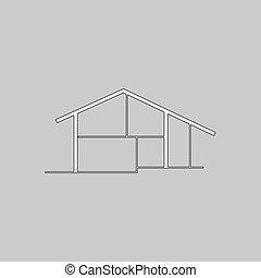 cottage computer symbol - cottage Simple line vector button....