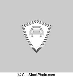 Car guard computer symbol - Car guard Simple line vector...
