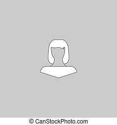 Girl head computer symbol - Girl head Simple line vector...