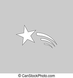 Meteor computer symbol - Meteor Simple line vector button...