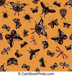 Colorful seamless pattern with insects