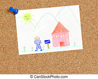 moving concept - child\'s picture of sold house attached to...