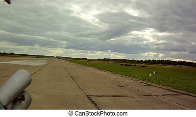 View from helicopter on airstrip - View from helicopter on...