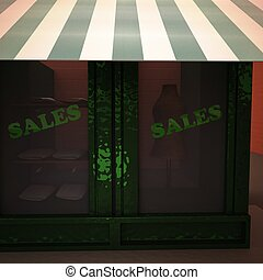 Shop showcase with sales word, 3d rendering