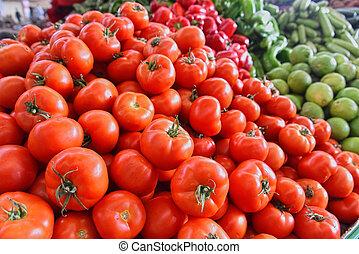 Fresh organic vegetables on street market stall