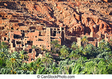Old berber architecture near the city of Tinghir in Atlas...