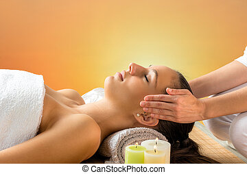 Reiki therapist doing treatment on woman. - Close up...